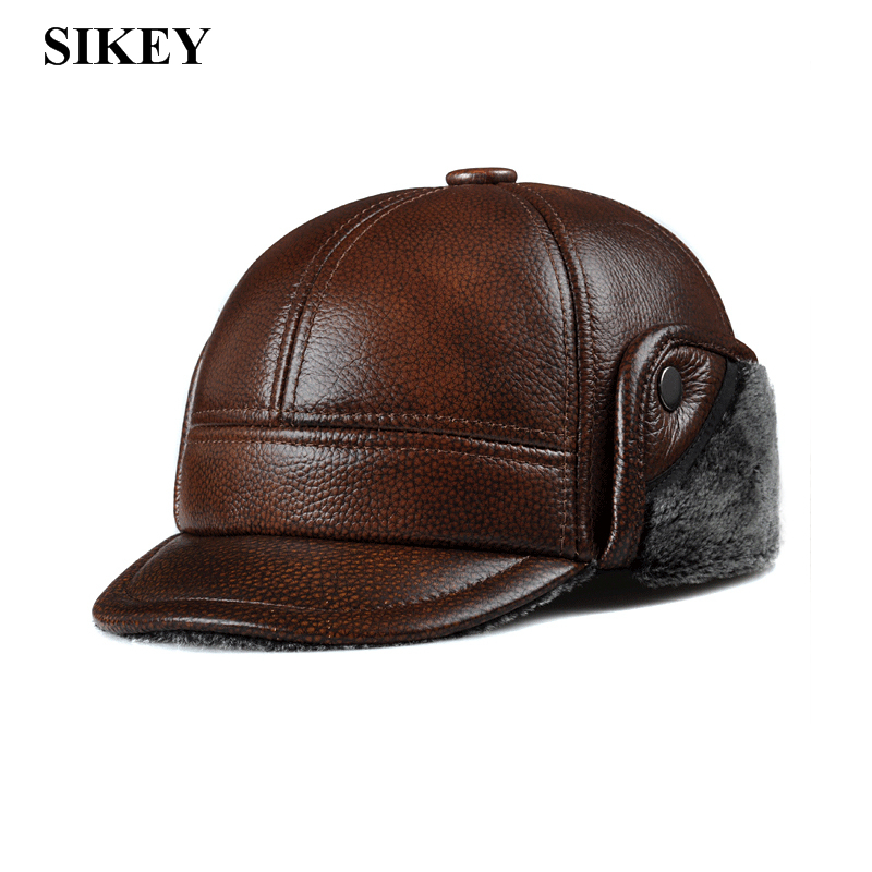 HL104 genuine leather men baseball cap hat CBD high quality men's real leather adult solid adjustable hats caps(China (Mainland))