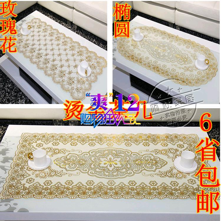 Bronzier coffee table dining table cloth transparent waterproof disposable soft glass lace round table mat plastic fashion pvc(China (Mainland))