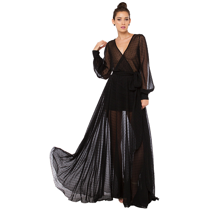 New fashion bohemian deep v neck voile women long dress big leg opening chiffon dress black perspective full sleeve dress Одежда и ак�е��уары<br><br><br>Aliexpress