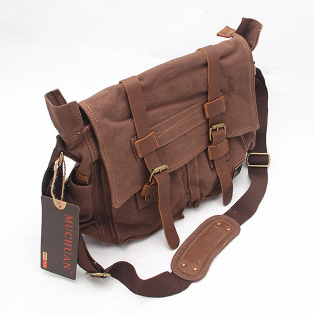 Men's Vintage Leather Canvas Military School Shoulder Bag Messenger Bag free shipping(China (Mainland))