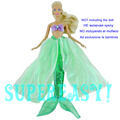 Fairy Story Princess Mermaid Costume Pink Prime Inexperienced Fishtail Outfit For Barbie Doll Garments Classic Kurhn 11.5″ 12″ Puppet Toy Reward