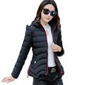 2016 New Style Women Short Hooded Jacket Autumn Winter Coat Casual Cotton padded Jackets Parka Female