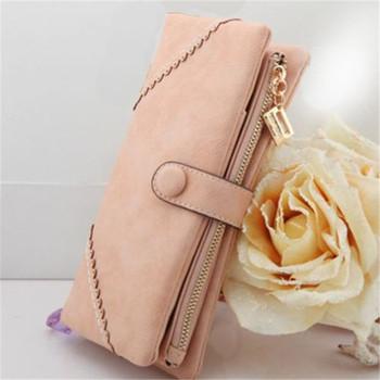 2015 Women Button Wallet Long Phone Card Holder Fashion Retro Multifunctional Purse Handbag High Quality Free Shipping N524