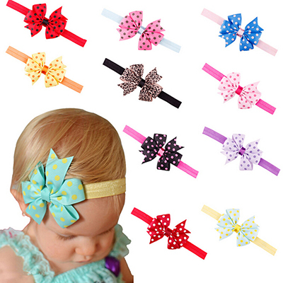 Baby Headband Girl Toddler Flower Bowknot Dots Hair Band 10 Colors Hair Accessories(China (Mainland))