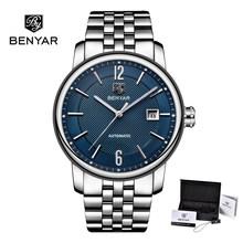 2019 nouveau BENYAR marque hommes montre affaires de luxe en cuir/acier inoxydable bande de mode montre-bracelet à Quartz Date étanche Relogio(China)