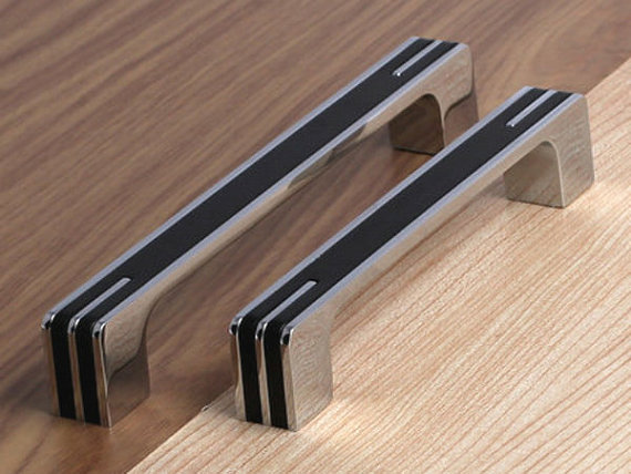 75 5 6 3 Modern Silver Black Kitchen Cabinet Door Handles