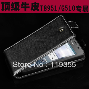 For Huawei Ascend G510 U8951, Luxury 100% Genuine Leather case,Free shipping