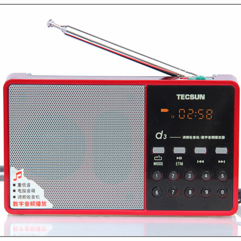 Original Tecsun D3 FM Stereo Radio Music MP3 Digital Song Selection TF Card Speaker receiver With Built-In Speaker free shipping(China (Mainland))