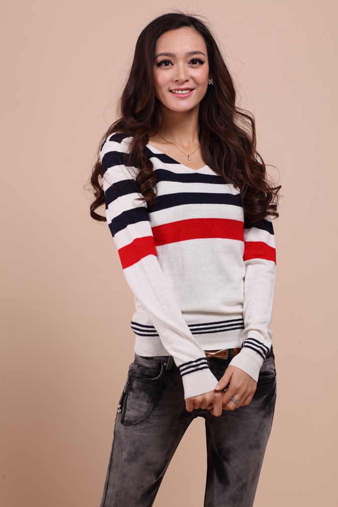 2014 Sweaters Women Striped Pullovers Slim V Neck Design Long sleeve Sweater Fedex EMS DHL Available my108 - Simon's Super Store store