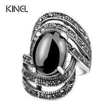 Buy Unique Vintage Fashion Black Rings Women Tibet Silver Alloy Antique Oval Angel Wings Ring 2017 New for $1.82 in AliExpress store