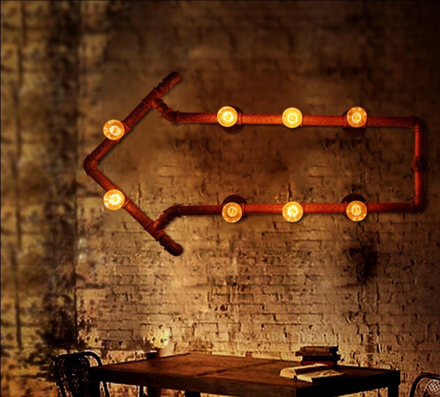 Loft american water pipe wall lamp vintage wrought iron balcony arrow of light bulbs bar table(China (Mainland))