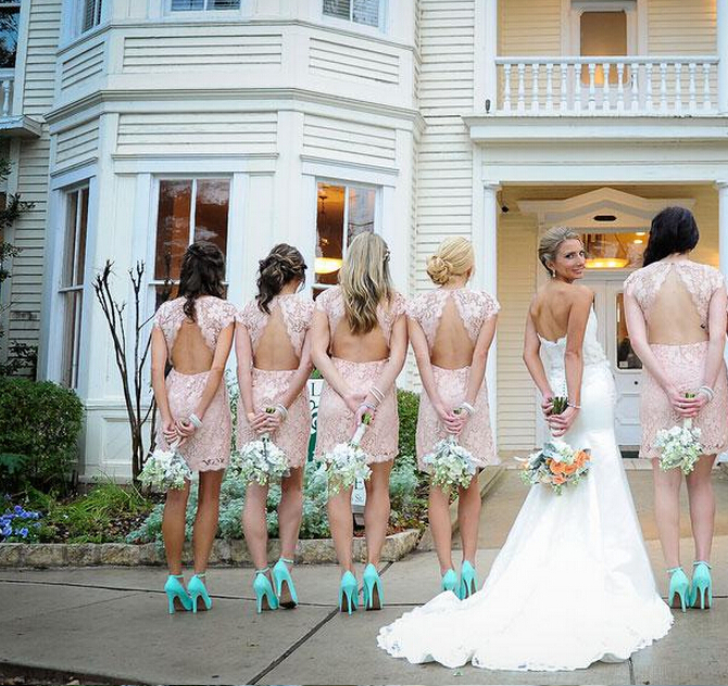 Style Blush Pink Short Lace Bridesmaid Dresses 2014 Crew Neck Sleeves Backless Gowns - wedding-dresses store