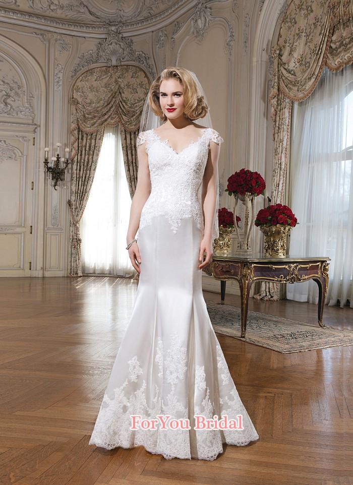 Vestidos novia 2015 новое поступление модные Cap рукавом атласная кисть поезд свадебное платье кружевные аппликации русалка свадебные платья