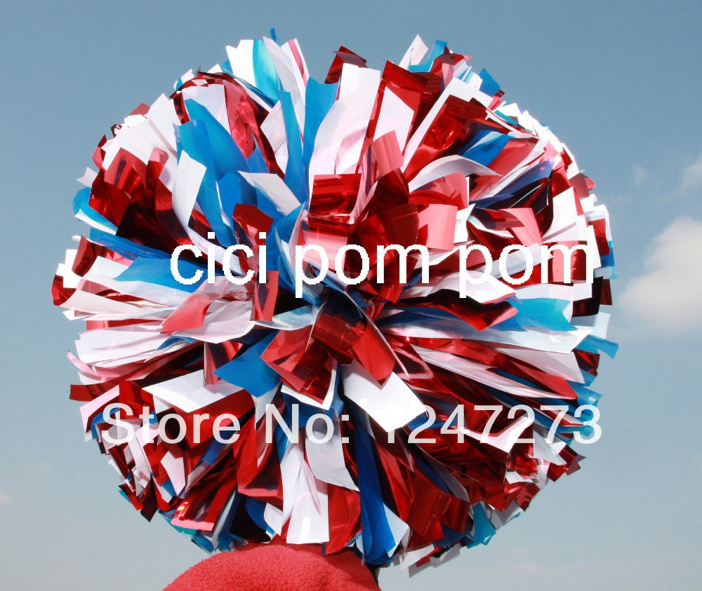 "free fast shipping cheerleader pom pom 1,000*3/4"" wide streamers*6"" sizes metallic red and plastic light blue and metallic white(China (Mainland))"