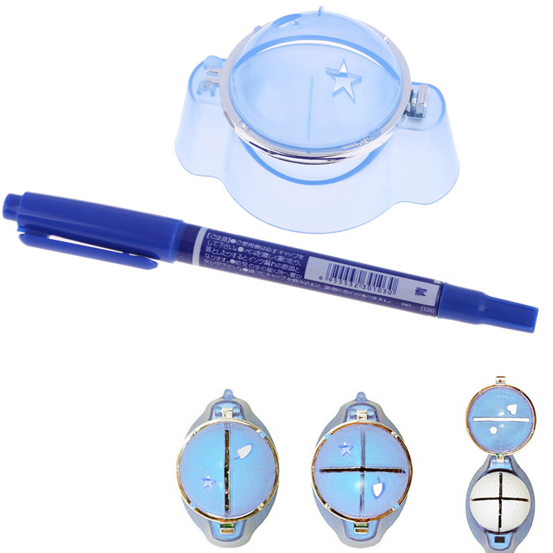 Golf Ball Liner Marker Template Drawing Alignment Tool Plastic + Pen Blue(China (Mainland))