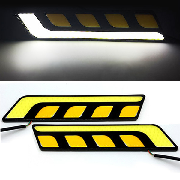 Free Shipping!!!Newest Waterproof White/Yellow Car Head Light COB LED Daytime Running Lights DRL Fog Lights with Turn Signal(China (Mainland))