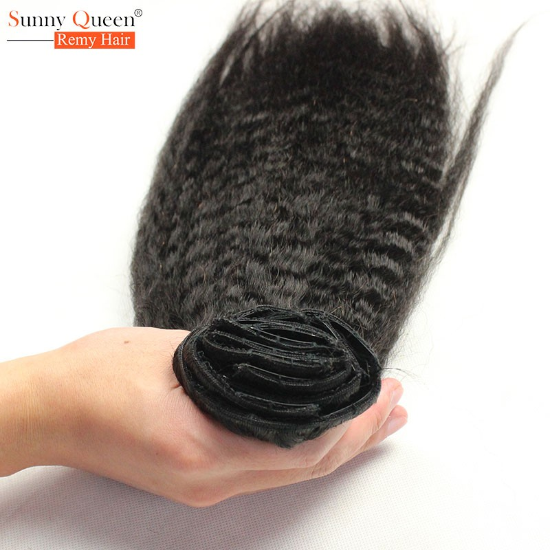 Clip In Human Hair Extensions  Mongolian Kinky Straight Hair Clip In Hair Extensions Coarse Yaki Human Hair Clip In Extensions