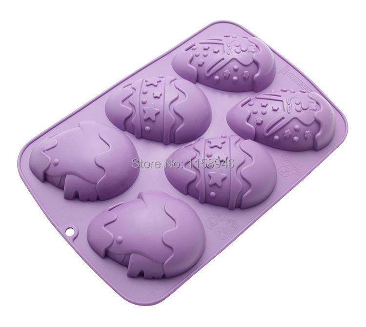 Cake Decorating Push Mold : 1 pcs 6 Easter Eggs silicone mold push candy chocolate ...