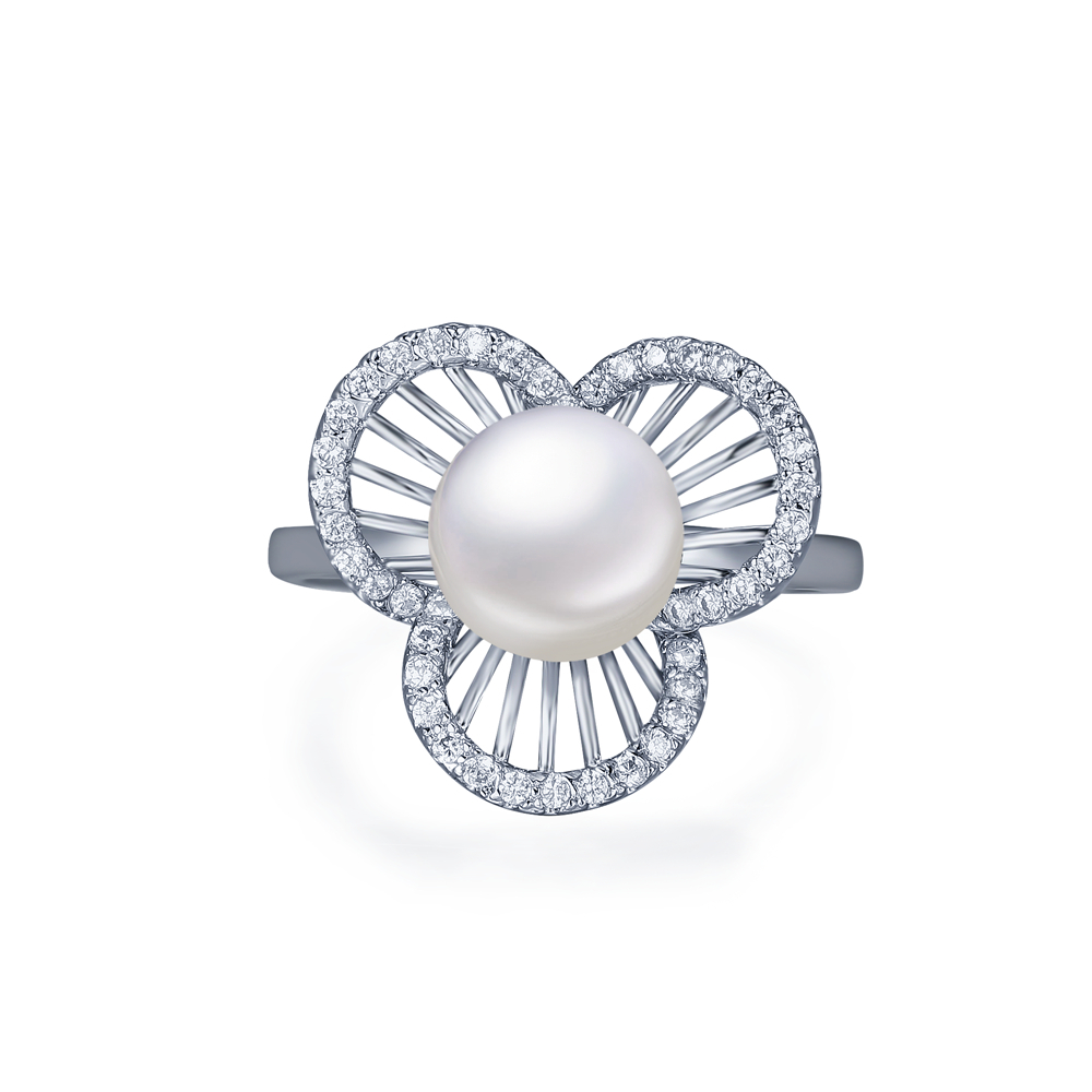 Free Shipping 2015 New Wedding Party High Quality Cubic Zirconia Micro Pave Flower One Big White Pearl Cocktail Ring(China (Mainland))