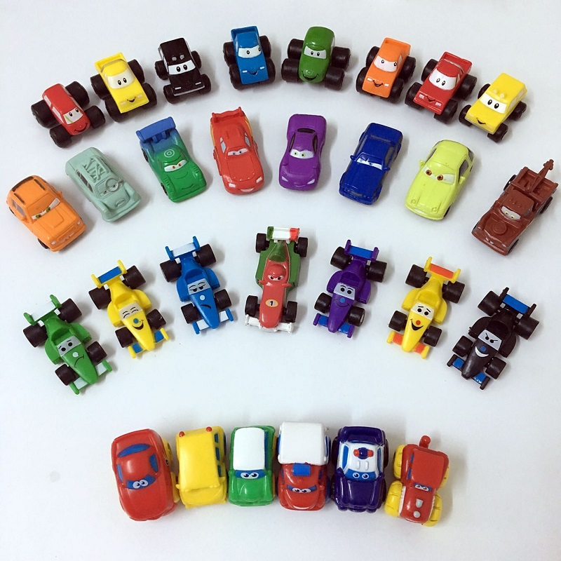 10Pcs/lot SQUINKIES Movie Car With Eyes Toys Size 3cm-5cm Mixed In Random Without CONTAINERS(China (Mainland))
