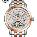 Fashion Luxury Brand LIGE Men Watch Tourbillon Hollow Calendar Automatic Mechanical Watch Male Casual dress Clocks