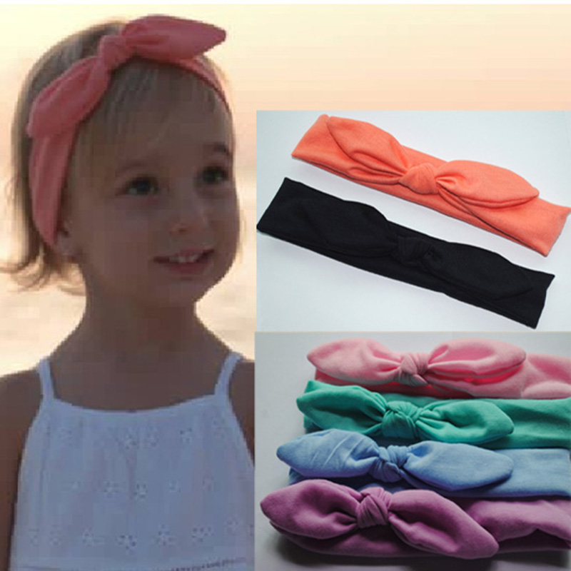 1Popular Baby Cotton Headwrap Upknot Cute Girls Ears Bow Headband Fashion Children's Hair Accessory Mixed Colors - SUSAN BEAUTY store