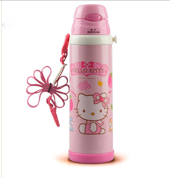 Retail 500ML Good Quality Cute Hello Kitty Children's Stainless Steel Vacuum Flasks Thermos Water Bottle(China (Mainland))