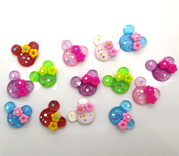 100 Mixed Mouse Rose Beads Cabochon Scrapbook Fit Phone Embellishments(China (Mainland))