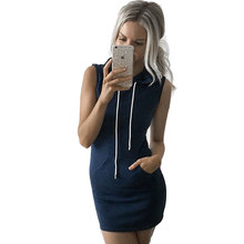 Summer Sport Dress Women Slim Hooded Dress 2016 Gray Pullover Mini Dresses Summer Beach Short Dress Bandage Vestidos With Pocket(China (Mainland))