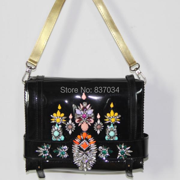 Hot Women Black Shoulder Bag Fancy Crystal Statement Ladies Girls Party Handbag Evening Shourouk - Elegantly Jewelry Store store