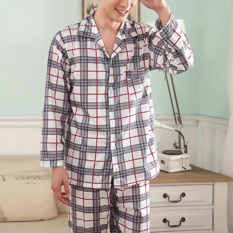 Long Sleeves Men's Pajamas Cotton Breathable Casual Pajamas Sets Plaid Sleepwear Nightwear Asian/Tag Size XL-3XL