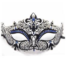 Best Sale Glossy Metal Filigree Phantom Half Face Mask for Venetian Masquerade (Black/Blue Stones)(China (Mainland))