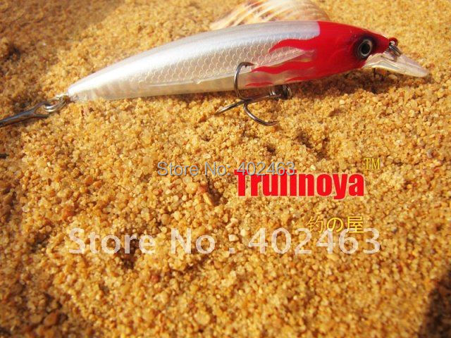 Free shipping fishing Lure reel MINNOW 95mm/ 9g DW11-A Red head/silver body 2 Crank hook fishing hard bait lure(China (Mainland))