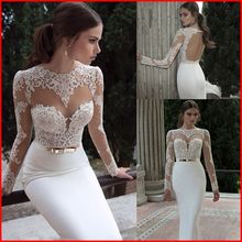 2015 Elegant Sexy Wedding Dresses Satin Bridal Events Gowns Vestidos De Noiva New Arrival  Sleeve Sheer Lace Mermaid Gown 2014(China (Mainland))