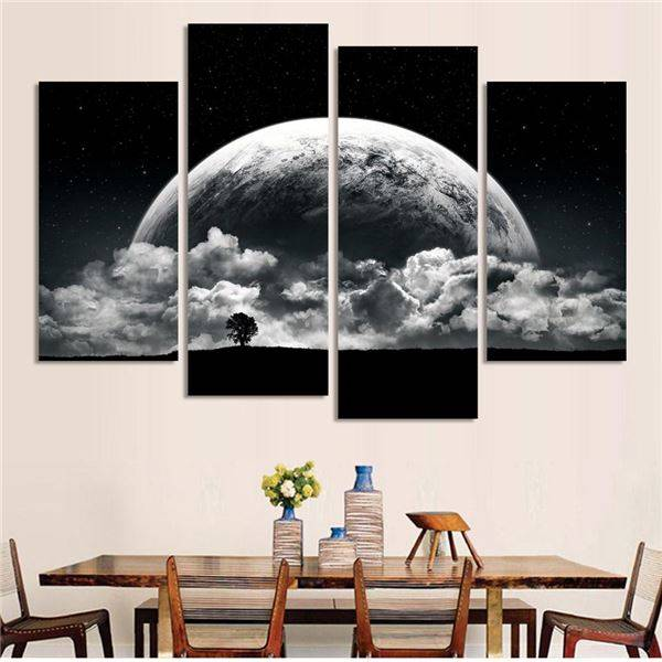 Black And White Printed Close Planets Universe 4 Piece Painting Wall Art Children S Room Decor Poster Canvas Free Shipping(China (Mainland))