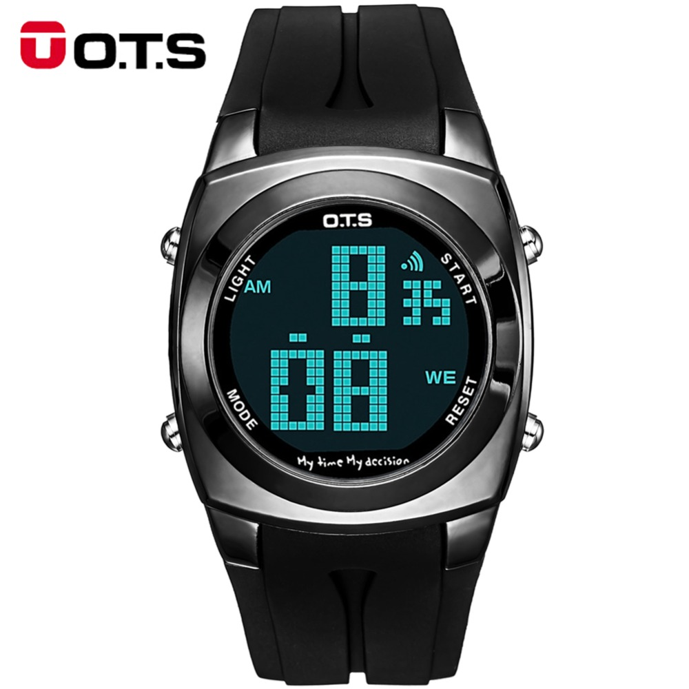 ots digital cool men sport led black metal watch alarm