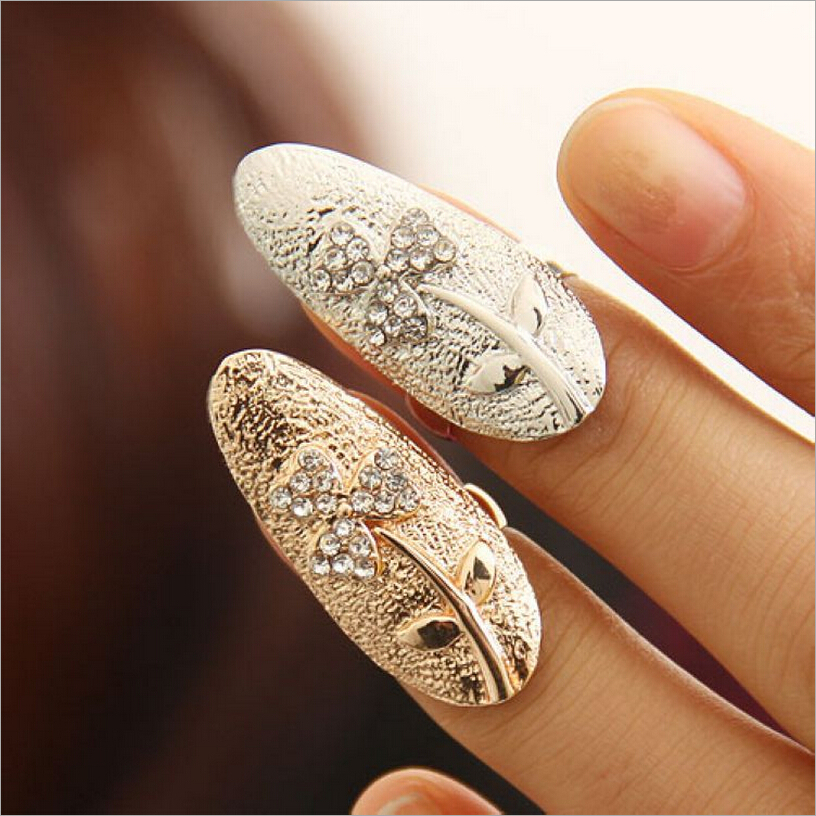 2015 New Hot !!! Fashion Fine Jewelry 18 K Gold-Plated Personality Rhinestone Clover Wedding Fingernail Rings For Women R-50(China (Mainland))
