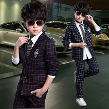2015 Baby Boy Clothing Sets Boys Plaid Blazer+Pants Suit Formal Outfit Kids Clothes Children Clothing Set Wedding Party LC30(China (Mainland))