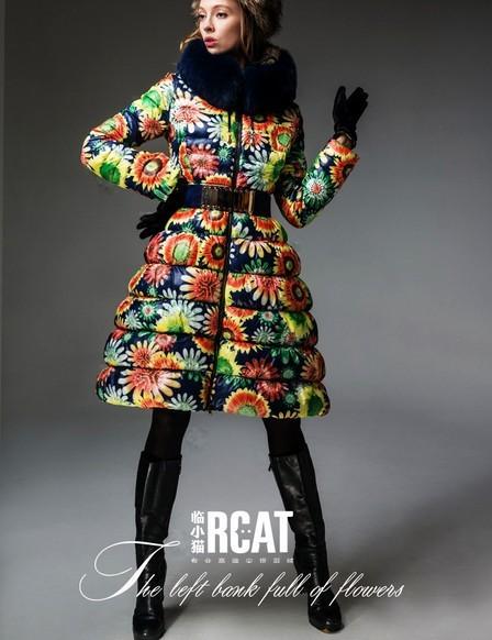 Hot! Europe Fashion Brand Women's Colorful Sunflower Printed Coats Female Luxury Fox Fur Coat Dress Parkas F15162 - CherryBerry Mall store