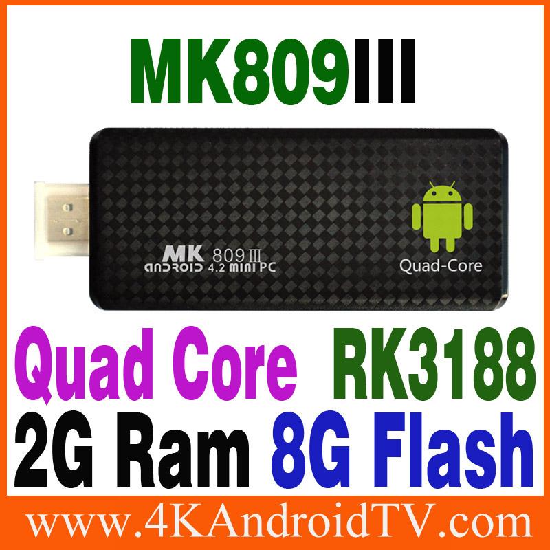 High quality Android Quad core smart tv stick 2GB RAM 8GB ROM 1.8GHz Max Bluetooth Wifi 1080p Google TV Player MK809III RK3188(China (Mainland))