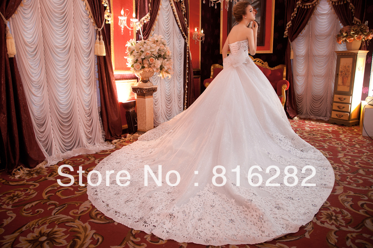 2015 a line floor length cathedral royal train beads for Wedding dresses with royal length train