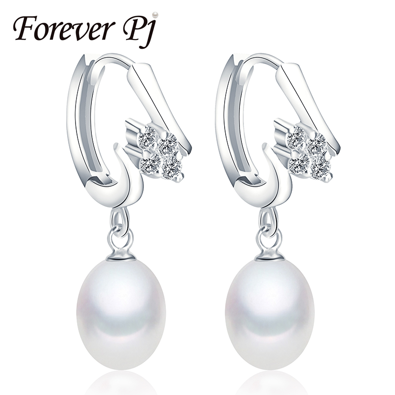 Amazing 925 sterling silver jewelry earrings new natural freshwater pearl jewelry , 2016 dangle earrings for women three color(China (Mainland))