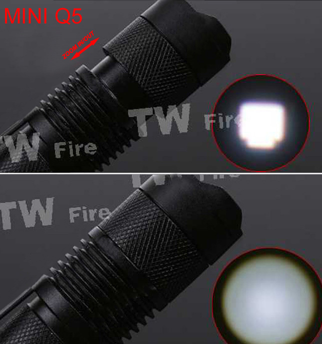 Mini ZOOMABLE 7W CREE Q5-XPE 500lm ZOOM Tactical AA 14500 battery Flashlight Torch Lamp(China (Mainland))