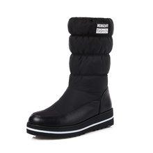Morazora Plus Size 35-44 Mới Ủng Nữ Bông Ấm Áp Xuống Giày Chống Thấm Nước Giày Lông Nền Tảng Giữa Bắp Chân giày Đen(China)
