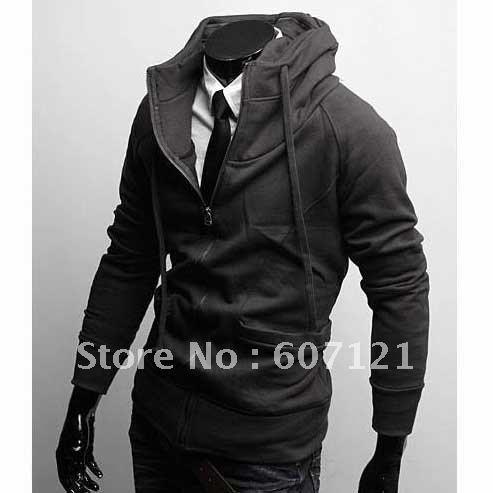 Korean Fashion Men's Slim Sexy Hoodie Jacket Zip Up High-neck Coats sweatshirt M-XXL black Free shipping