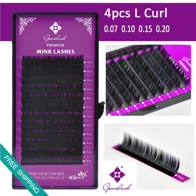 L curl 4 pcs/Lot All Thickness Faux Mink Material Individual False Eyelash Extension