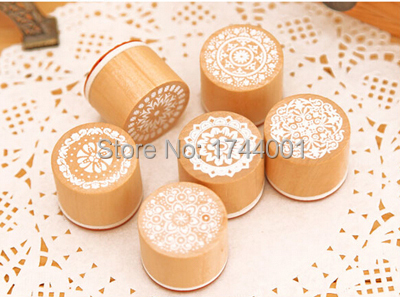 Practical 6 1 Round Wooden Rubber Retro Floral Pattern Stamps - 2015 Happy Home store