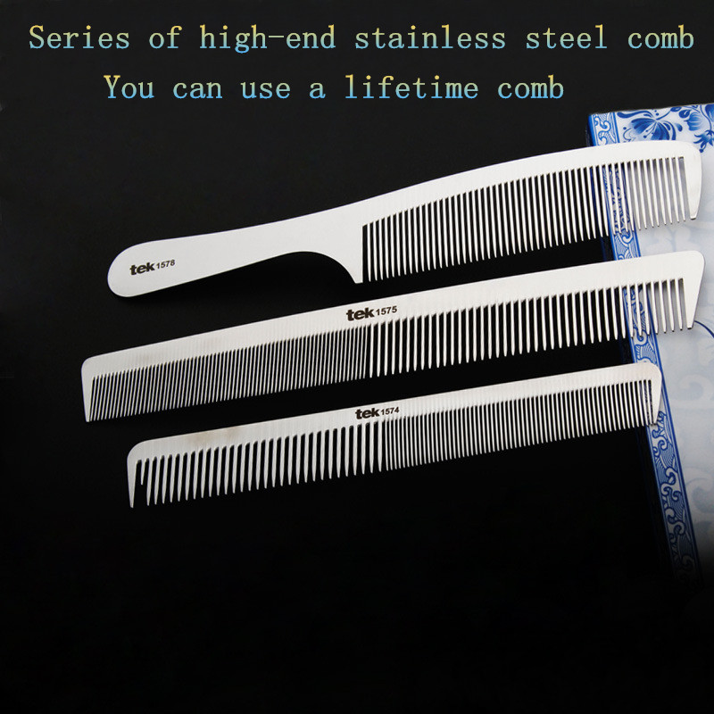1571 Super Thin Hair Stainless Steel Comb Barber Hair Cut Comb Professional For Hair Salon Barber Tool Hair Comb