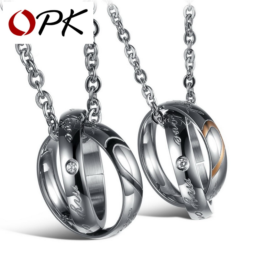 OPK JEWELRY Wholesale Price stainless steel Couple Pendant Necklace Mixed Order Fashion LOVER Jewelry 10pcs/lot Free Shipping<br><br>Aliexpress