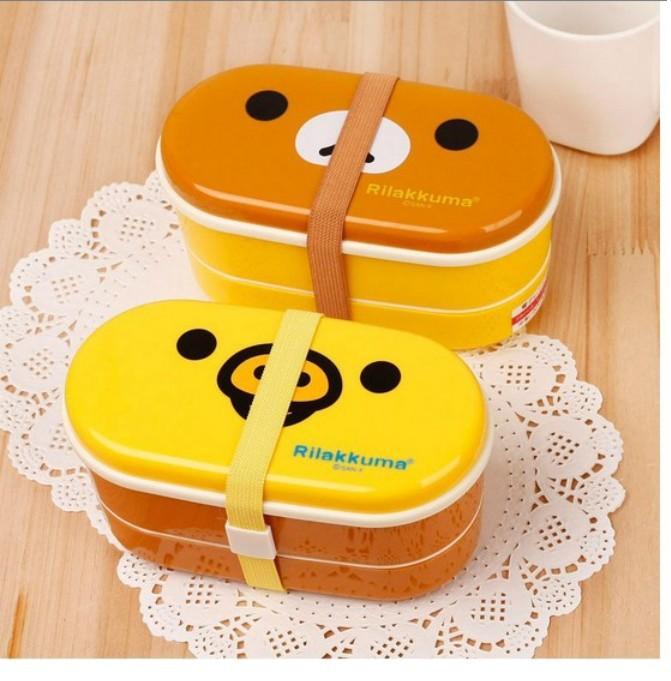 5 sets wholesales !!! 2 colors Yellow/brown Relax Bear Lovely Beautiful lunch box Rilakkuma Bento Box with Chopsticks &belt(China (Mainland))
